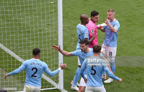 Ederson of Manchester City reacts with teamates after saving a penalty during the Premier League match between Manchester City and Everton at Etihad...