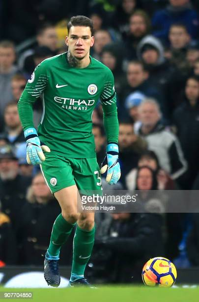 Ederson of Manchester City runs with the ball during the Premier League match between Manchester City and Newcastle United at Etihad Stadium on...