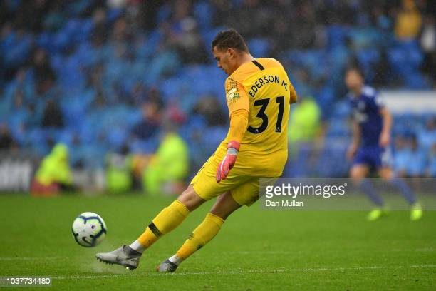 Ederson of Manchester City sends the ball forward during the Premier League match between Cardiff City and Manchester City at Cardiff City Stadium on...