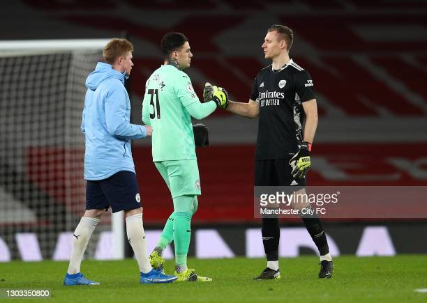 Ederson of Manchester City shakes hands with Bernd Leno of Arsenal following the Premier League match between Arsenal and Manchester City at Emirates...