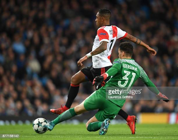 Ederson of Manchester City tackles JeanPaul Boetius of Feyenoord during the UEFA Champions League group F match between Manchester City and Feyenoord...