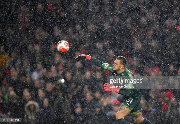 Ederson of Manchester City throws the ball directly to Scott McTominay of Manchester United to present him the opportunity to score the second goal...