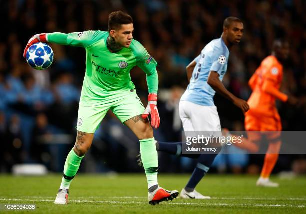 Ederson of Manchester City throws the ball out during the Group F match of the UEFA Champions League between Manchester City and Olympique Lyonnais...