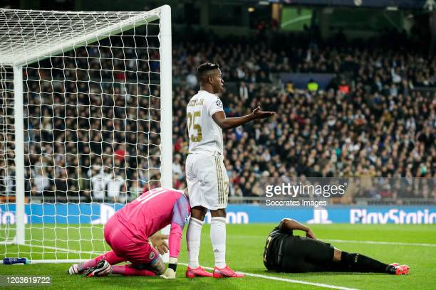 Ederson of Manchester City Vinicius Junior of Real Madrid during the UEFA Champions League match between Real Madrid v Manchester City at the...