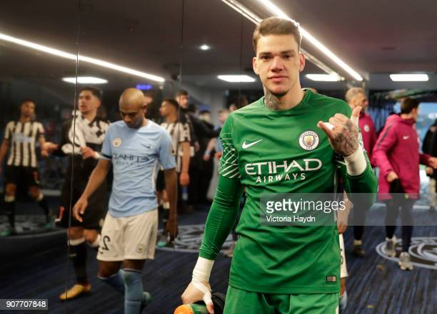 Ederson of Manchester City walks through the tunnel following the Premier League match between Manchester City and Newcastle United at Etihad Stadium...