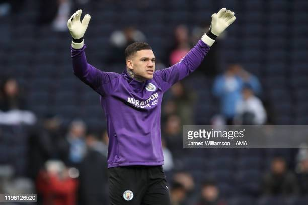 Ederson of Manchester City warming up before the Premier League match between Tottenham Hotspur and Manchester City at Tottenham Hotspur Stadium on...