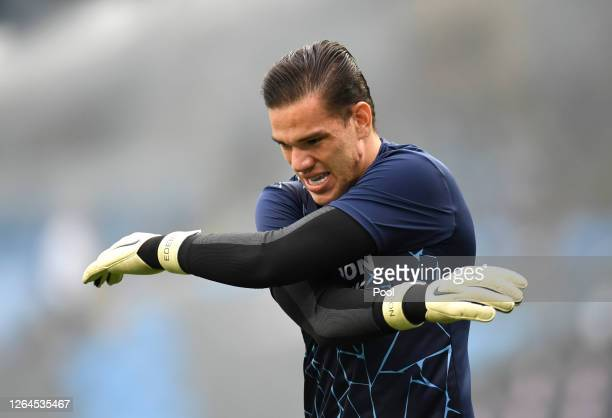 Ederson of Manchester City warms up prior to the UEFA Champions League round of 16 second leg match between Manchester City and Real Madrid at Etihad...