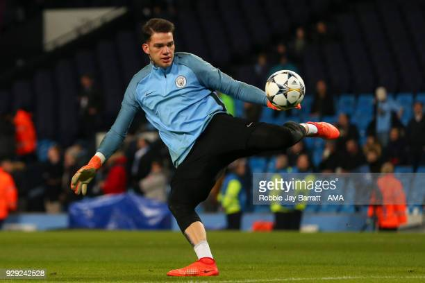 Ederson of Manchester City warms up prior to the UEFA Champions League Round of 16 Second Leg match between Manchester City and FC Basel at Etihad...