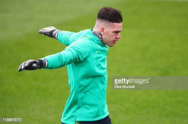 Ederson warms up during a Manchester City training session at Manchester City Football Academy on February 19 2019 in Manchester England