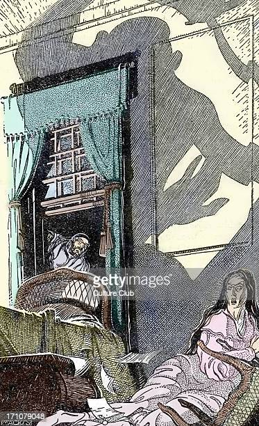 Edgar Allan Poe 'The murders in the rue Morgue' Caption reads 'At this glimpse he nearly fell from his hold through excess of horror' short thriller...