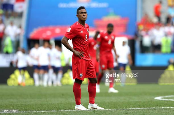 Edgar Barcenas of Panama looks dejectd following England third goal during the 2018 FIFA World Cup Russia group G match between England and Panama at...