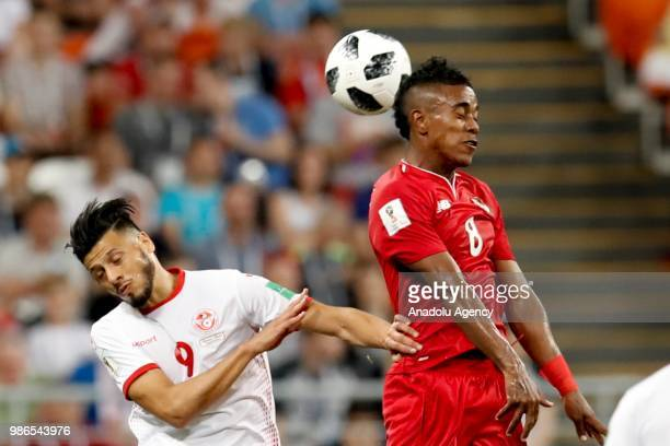 Edgar Barcenas of Panama struggles with his competitor Anice Badri of Tunisia during the 2018 FIFA World Cup Russia Group G match between Panama and...
