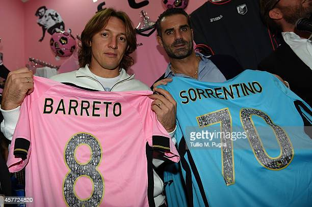 Edgar Barreto and Stefano Sorrentino attends the first US Citta di Palermo Official Store opening ceremony on October 23 2014 in Palermo Italy