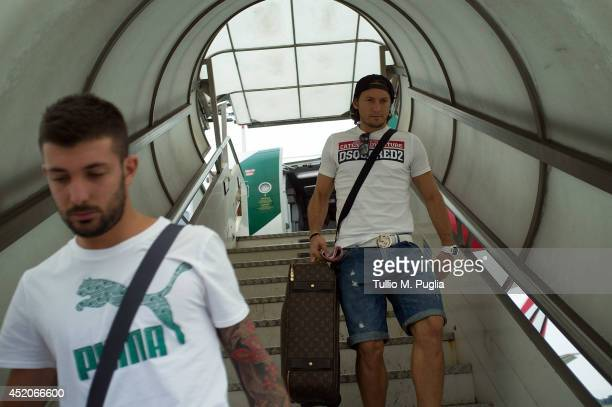 Edgar Barreto arrives at Milan airport before a Palermo training session on July 12 2014 in Coccaglio near Brescia Italy