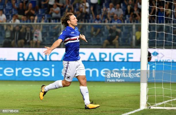 Edgar Barreto celebrates after scoring goal 10 during the TIM Cup match between UC Sampdoria and Foggia at Stadio Luigi Ferraris on August 12 2017 in...