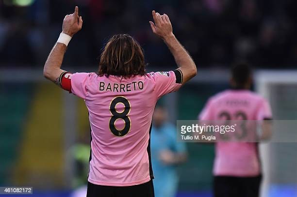 Edgar Barreto of Palermo celebrates after scoring his team's fifth goal during the Serie A match between US Citta di Palermo and Cagliari Calcio at...