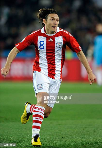 Edgar Barreto of Paraguay during the 2010 FIFA World Cup South Africa Quarter Final match between Paraguay and Spain at Ellis Park Stadium on July 3...