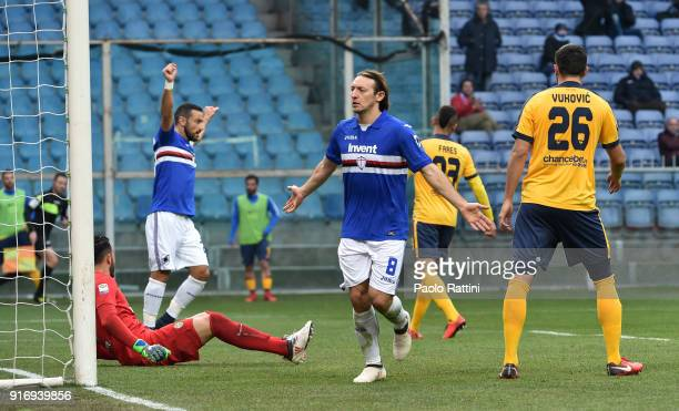 Edgar Barreto of Sampdoria celebrates after scoring a goal 10 during the serie A match between UC Sampdoria and Hellas Verona FC at Stadio Luigi...