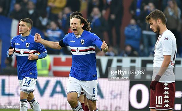 Edgar Barreto of Sampdoria celebrates after scoring the first goal 10 during the Serie A match between UC Sampdoria and FC Torino at Stadio Luigi...