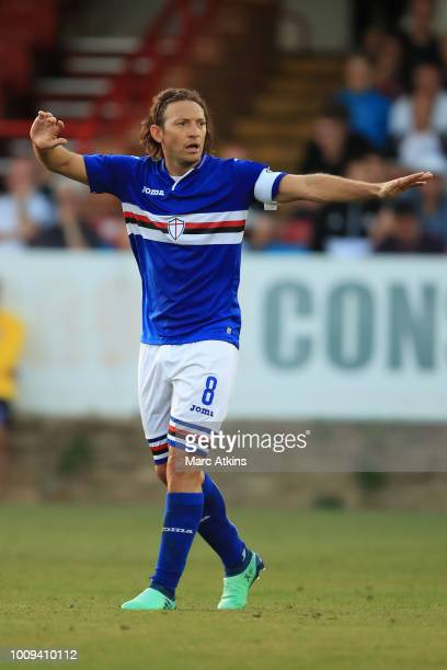 Edgar Barreto of Sampdoria during the PreSeason Friendly between Fulham v Sampdoria at the EBB Stadium on August 1 2018 in Aldershot England