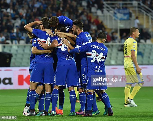 Edgar Barreto of UC Sampdoria celebrates after scoring the opening goal during the Serie A match between Pescara Calcio and UC Sampdoria at Adriatico...
