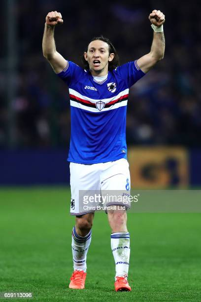 Edgar Barreto of UC Sampdoria celebrates at fulltime following the Serie A match between Genoa CFC and UC Sampdoria at Stadio Luigi Ferraris on March...