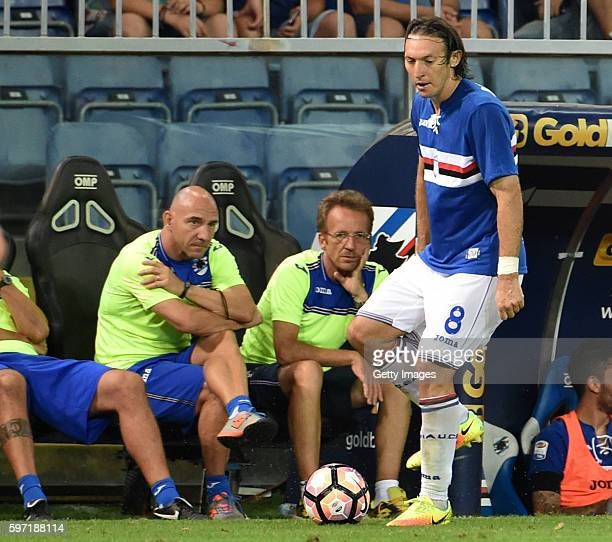 Edgar Barreto of UC Sampdoria during the Serie A match between UC Sampdoria and Atalanta BC at Stadio Luigi Ferraris on August 28 2016 in Genoa Italy