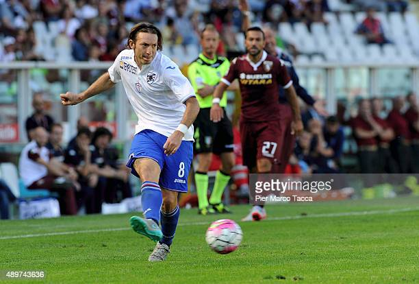 Edgar Barreto of UC Sampdoria in action during the Serie A match between Torino FC and UC Sampdoria at Stadio Olimpico di Torino on September 20 2015...