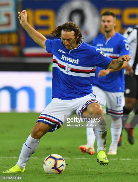 Edgar Barreto of UC Sampdoria in action during the serie A match between Udinese and UC Sampdoria at Stadio Friuli on August 26 2018 in Udine Italy