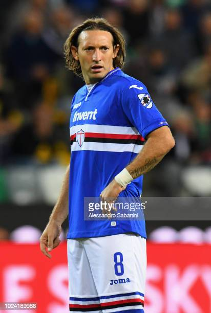 Edgar Barreto of UC Sampdoria looks on during the serie A match between Udinese and UC Sampdoria at Stadio Friuli on August 26 2018 in Udine Italy