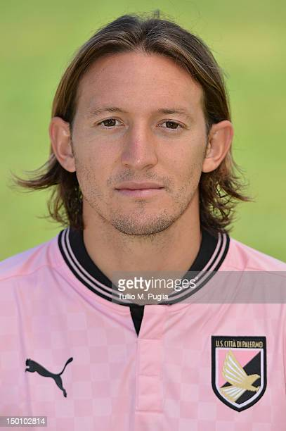 Edgar Barreto of US Citta di Palermo poses during a portrait session for the team's official headshots at Campo Tenente Onorato on August 10 2012 in...