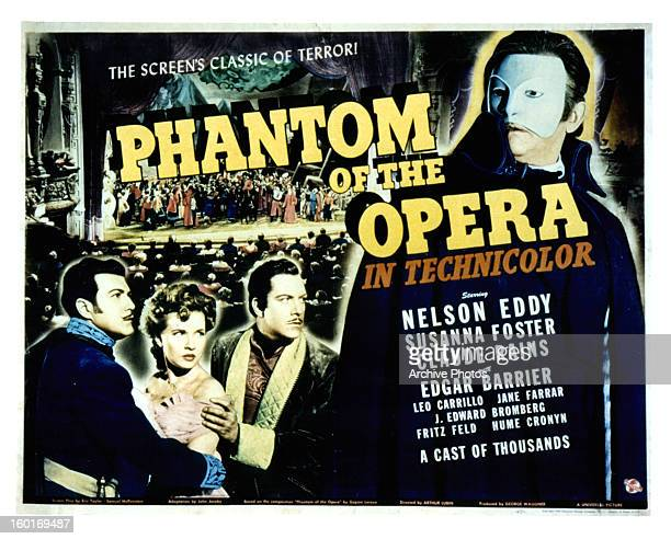 Edgar Barrier Susanna Foster Nelson Eddy and Claude Rains in movie art for the film 'Phantom Of The Opera' 1943