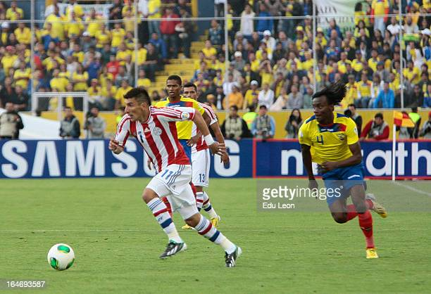 Edgar Benitez of Paraguay controls the ball during a match between Ecuador and Paraguay as part of the 12th round of the South American Qualifiers...
