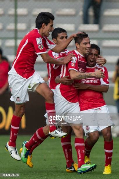 Edgar Benitez of Toluca celebrates a goal during the match between Toluca from Mexico and Boca Jrs from Argentina as part of the Copa Bridgestone...