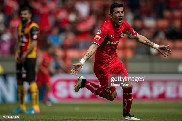 Edgar Benitez of Toluca celebrates after scoring the opening goal during a match between Toluca and Leones Negros as part of 4th round Clausura 2015...