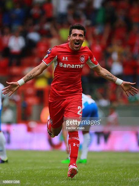 Edgar Benitez of Toluca celebrates after scoring the opening goal of his team during a match between Toluca and Puebla as part of 12th round Apertura...