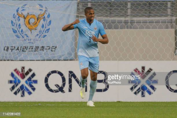Edgar Bruno Da Silva reaction after first goal during an AFC Champions League Group Stage at Forest Arena in Daegu, South Korea. Match won Daegu FC,...