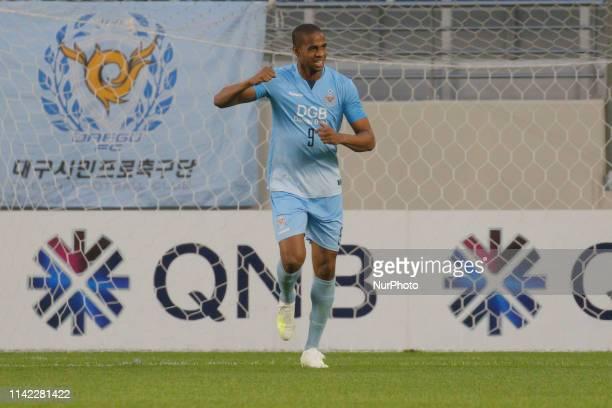 Edgar Bruno Da Silva reaction after first goal during an AFC Champions League Group Stage at Forest Arena in Daegu, South Korea. Match won Daegu FC,...