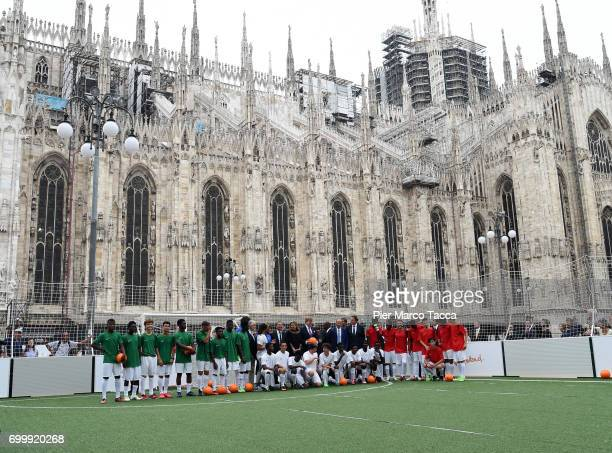Edgar Davids Aron Winter Mayor of Milan Giuseppe Sala Queen Maxima and King WillemAlexander of The Netherlands attend a football clinic for...