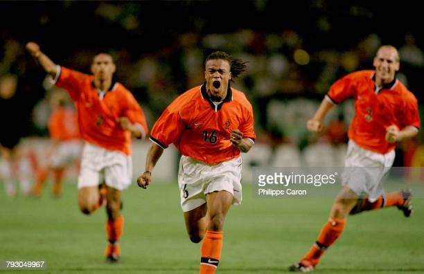 Edgar Davids for The Netherlands celebrates after scoring the second goal, of the quarter-final match against Yugoslavia of the 1998 World Cup soccer...