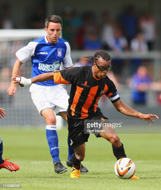 Edgar Davids of Barnet in action during the pre season friendly match between Barnet and Ipswich Town at The Hive on July 20 2013 in Barnet England