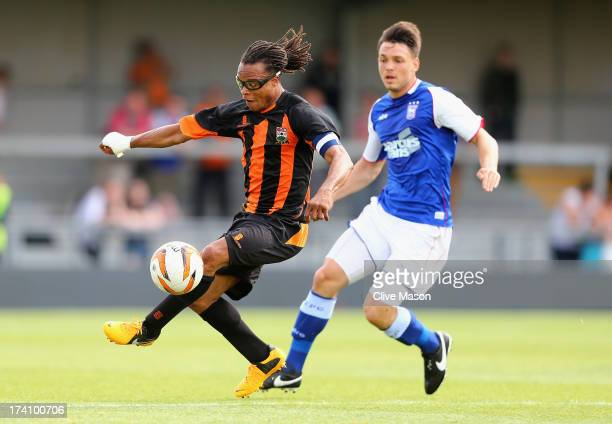 Edgar Davids of Barnet in action during the pre season friendly match between Barnet and Ipswich Town at The Hive on July 20, 2013 in Barnet, England.