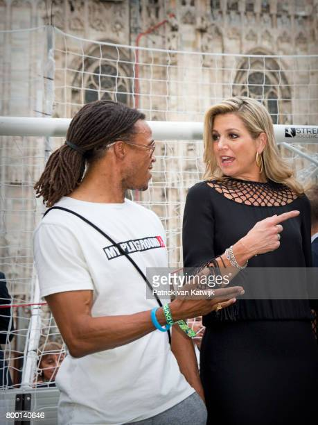 Edgar Davids Queen Maxima of The Netherlands attend a soccer clinic with dutch former players Clarence Seedor Aaron Winter Pierre van Hooijdonk and...