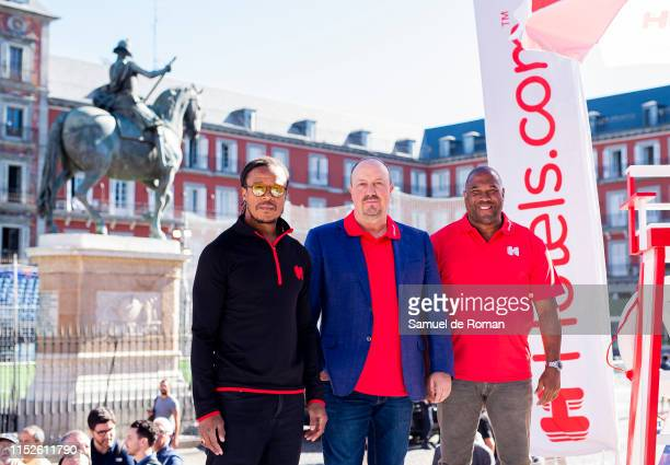 Edgar Davids, Rafa Benitez and John Barnes at the Hotels.com Champions Retreat in Plaza Mayor ahead of the UEFA Champions League Final on May 30,...