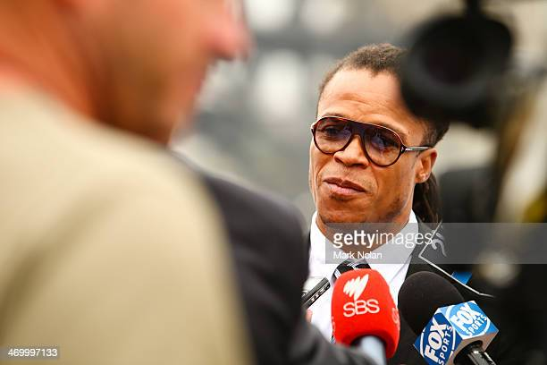 Edgar Davids speaks to the press during a media opportunity ahead of the ALeague AllStars v Juventus FC match at Sydney Opera House on February 18...
