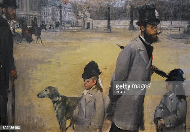 Edgar Degas French painter and sculptor Place de la Concorde or Viscount Lepic and his two daughters crossing the Place de la Concorde 1875 Oil on...