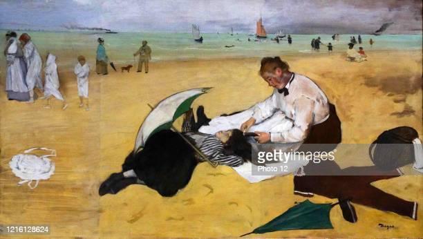 Edgar Degas, French school. Beach Scene c.1869-1870. Oil on paper on canvas . London, National Gallery.