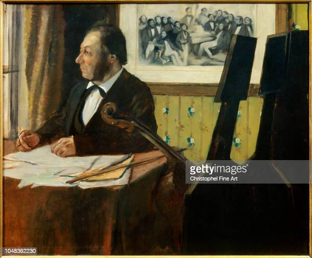Edgar Degas , Portrait of Louis Marius Pilet cellist of the orchestra of the Opera. 1869. Oil on canvas, 0.50 x 0.61 m. Paris Orsay Museum.