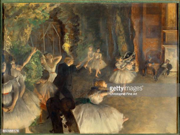 Edgar Degas The Rehearsal of the Ballet Onstage Circa 1874 Oil colors freely mixed with turpentine Watercolor and Pastel on bristol board and mounted...