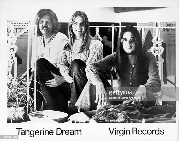 Edgar Froese Peter Baumann and Christopher Franke of the rock band 'Tangerine Dream' pose for a portrait in circa 1973